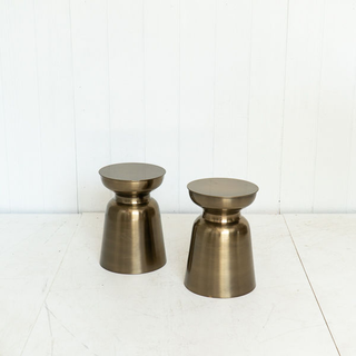 Burnished Gold Modern Side Table Plant Stand Floral Risers