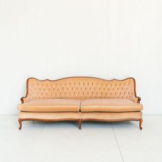 Peach Velvet French Style Sofa