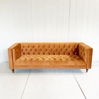 Burnt Orange Velvet Tufted Sofa