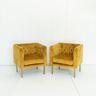 Golden Velvet Club Chairs with Squared Tufted Back