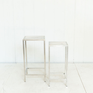 Chrome and Marble Sleek Modern Square Side Table