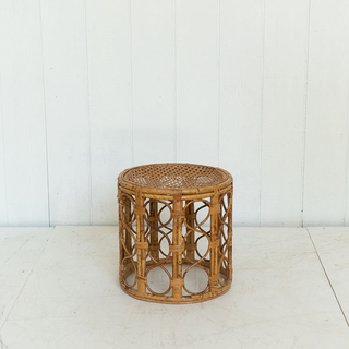 Round Wicker Side Table With Patterened Sides