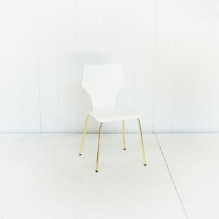 White Wood Modern Brass Leg Chair