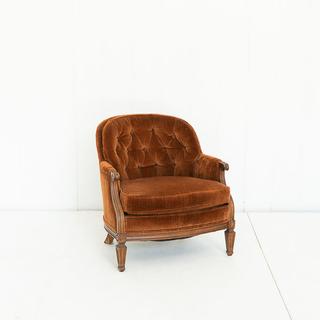 Burnt Orange Velvet Retro Barrel Back Chair