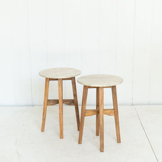 Marble and Light Wood Modern Side Table