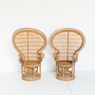 60's Peacock Chair Light Wicker