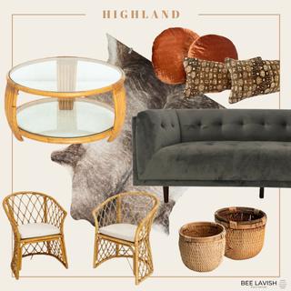 Boho Styled Lounge Wicker Chairs Velvet Sofa Mid Century Modern