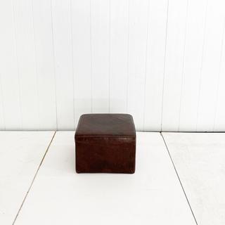 Dark Leather Cube Pouf