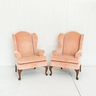 Peach Velvet Wingback Chair