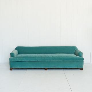 Velvet Blue Low Back Sofa