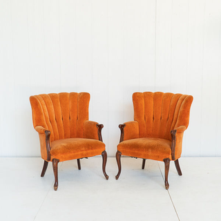 Orange Channel Back Tufted Chair