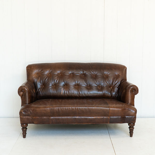 Leather Tufted Settee
