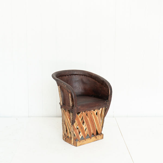 Brown Leather Equipale Barrel Chair