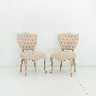 Cream Tufted Linen Chairs