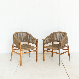 Jute Woven Chair with Rounded Back