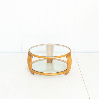 60's Rattan Coffee Table with Glass Top