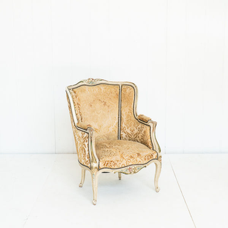 Gold Floral Upholstered French Style Chair