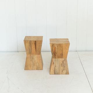 Modern Wood Geometric Side Tables