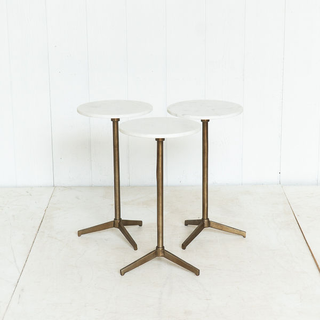 Modern Marble Top Side Table with Burnished Brass Legs