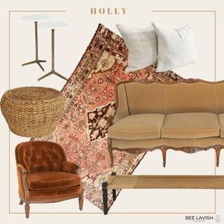 Boho Styled Lounge Velvet Rust Chair