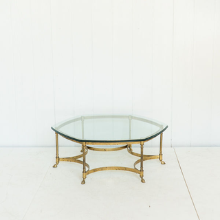 Vintage 6 Sided Brass Coffee Table Hollywood Regency Style