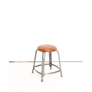 Tan Leather and Metal Stool