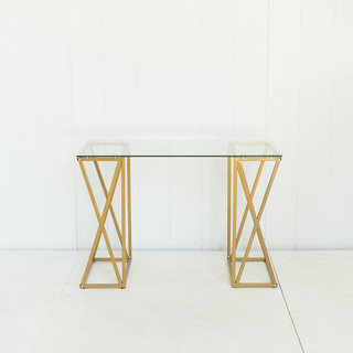 Glass Tabletop With Champagne Gold Modern Legs