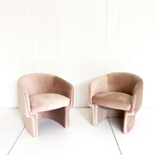 Blush Pink Velvet Curved Back Chair