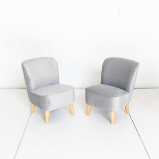 Grey Velvet Kids Armless Chair with Oak Legs