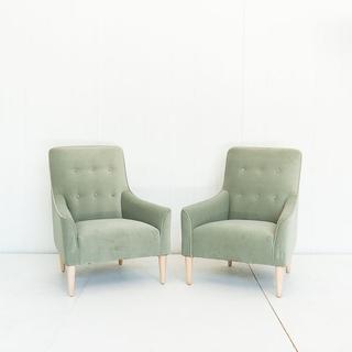 Mint Velvet Tufted Chair with Light Oak Legs