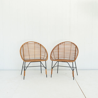 Rattan Rapped Metal Rounded Back Chair