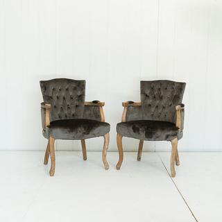 Dark Grey Velvet French Style Chair