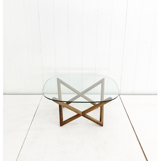 Wooden Geometric Coffee Table With Glass Top