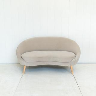 Curved Grey Velvet Sofa