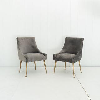 Grey Velvet Modern Chairs with Brass Legs