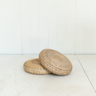 Flat Woven Rattan Floor Pouf