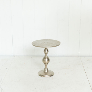 Polished Silver Round Side Table