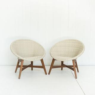 Cream Woven Mid Century Modern Chairs