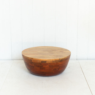 Low Wooden Drum Coffee Table