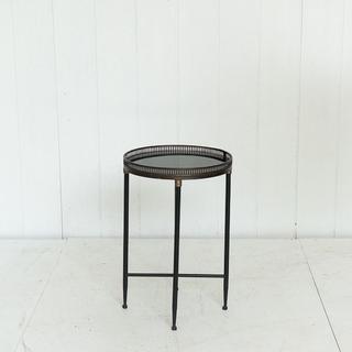 Black Mirrored Circular Side Table