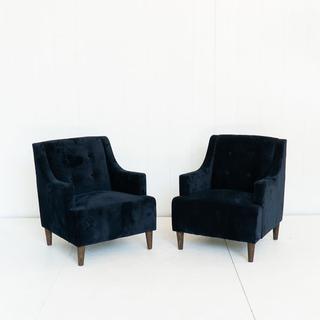 Midnight Blue Velvet Tufted Chair