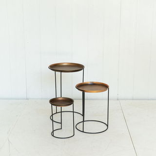 Copper Nesting Side Tables with Black Metal Legs