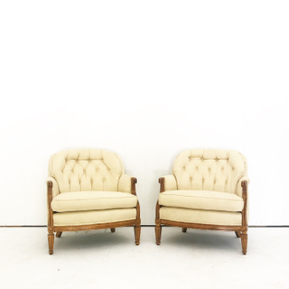 Tufted Yellow Cream Chairs French Country