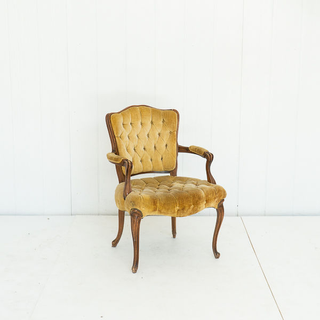 Gold Velvet Tufted French Style Chair
