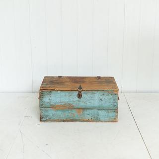 Blue Rustic Trunk Coffee Table Display