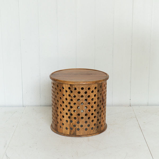 Round Wooden Side Table With Patterned Detail