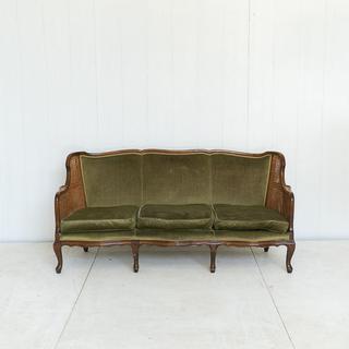 Emerald Green Velvet and Cane Sofa