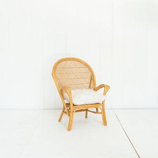 Rattan Lougne Chair with Faux Fur Cream Pillow