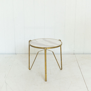 Marble and Brass Modern Accent Table