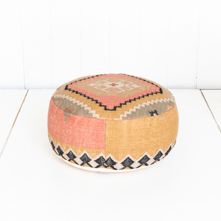 Turkish Style Yellow Pink and Grey Pouf